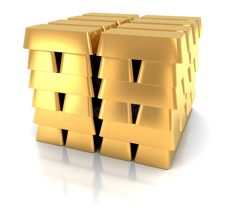 Gold bar. Pile of gold bar in bank (3d, isolated royalty free illustration
