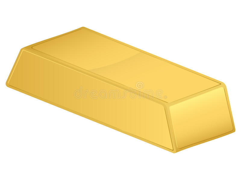 Gold bar. Isolated on a white background. Vector illustration stock illustration