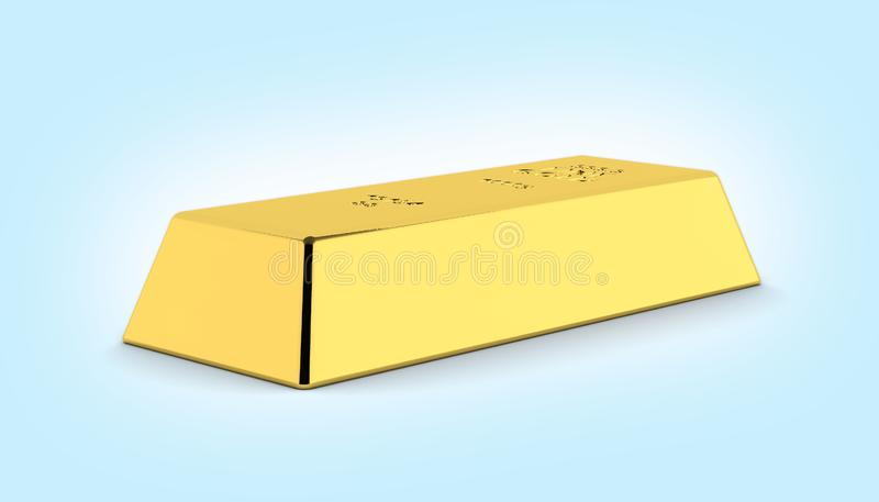 Gold bar on blue gradient background 3d royalty free illustration