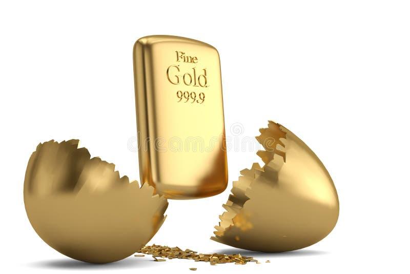 Gold bar and break gold egg. 3D illustration.  royalty free illustration