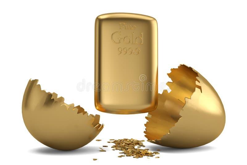 Gold bar and break gold egg. 3D illustration.  vector illustration