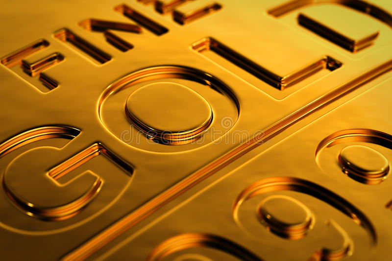 Gold bar close-up. Close-up view of a gold bar with shallow depth of field royalty free illustration