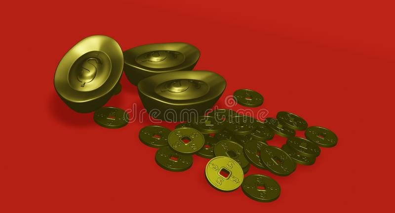 Gold bar and gold coin in chinese style has dollar sign. With red background stock illustration