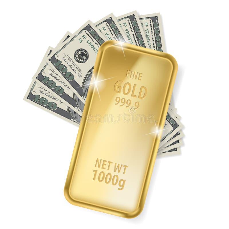 Gold bar and dollars. Illustration on white background for design vector illustration