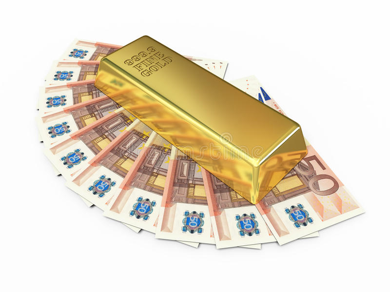 Gold bar and fifty euro money stock photo
