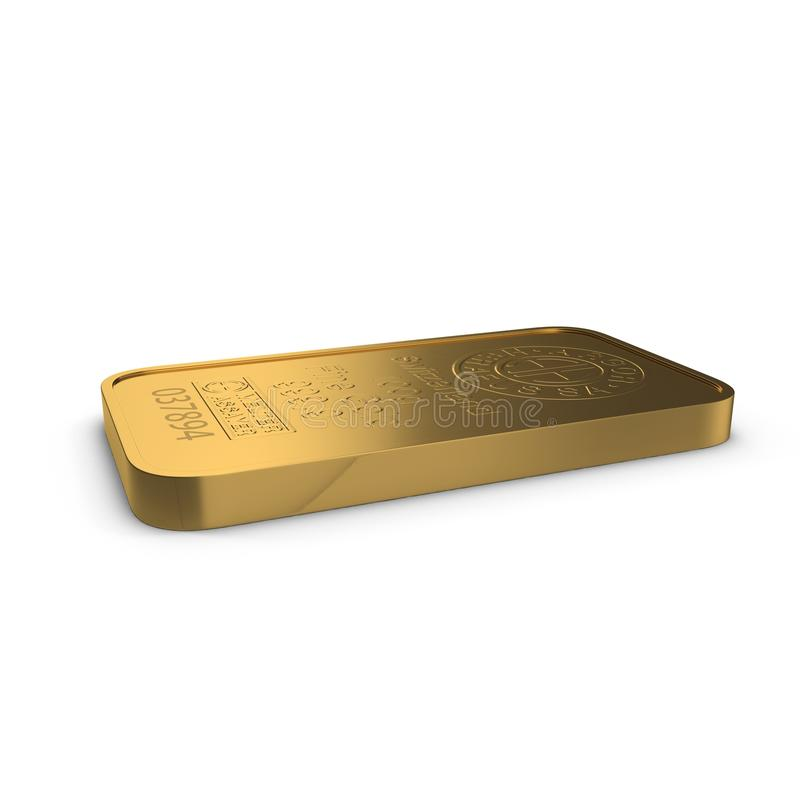 Gold bar 100g isolated on white. 3D illustration royalty free illustration