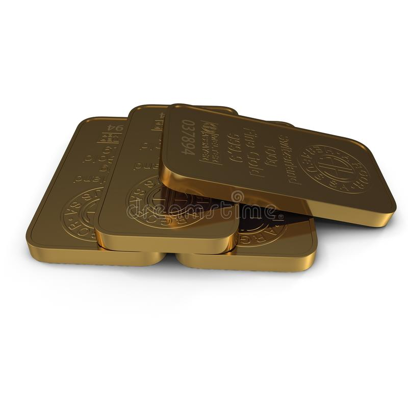 Gold bar 100g isolated on white. 3D illustration vector illustration