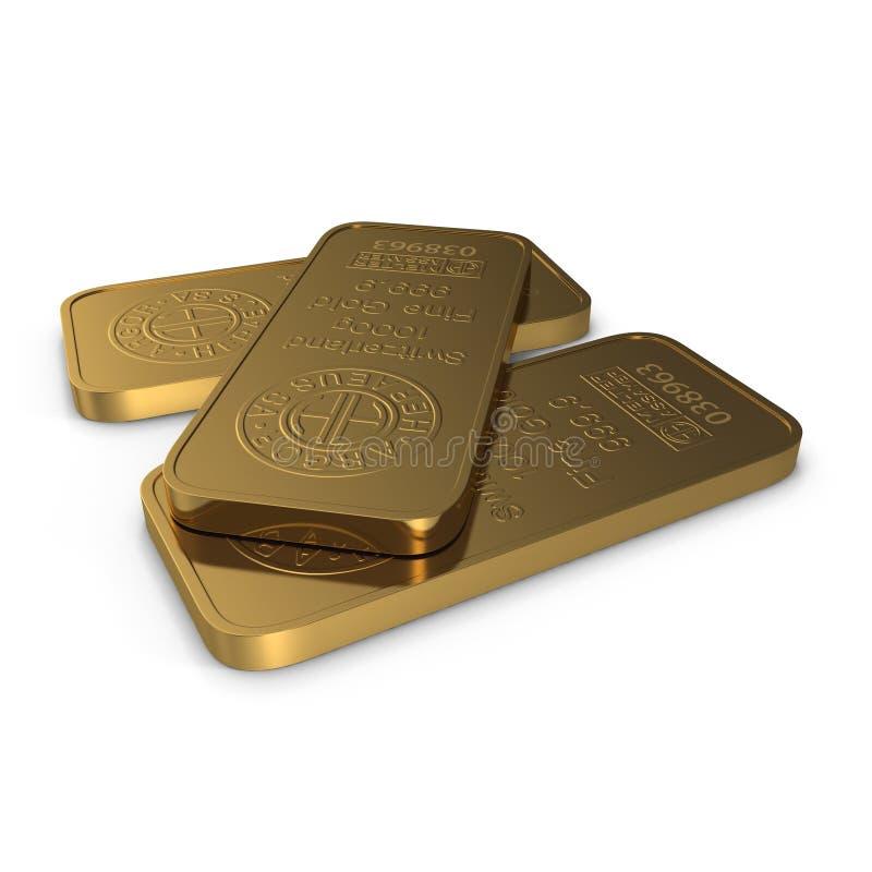Gold bar 1000g isolated on white. 3D illustration vector illustration