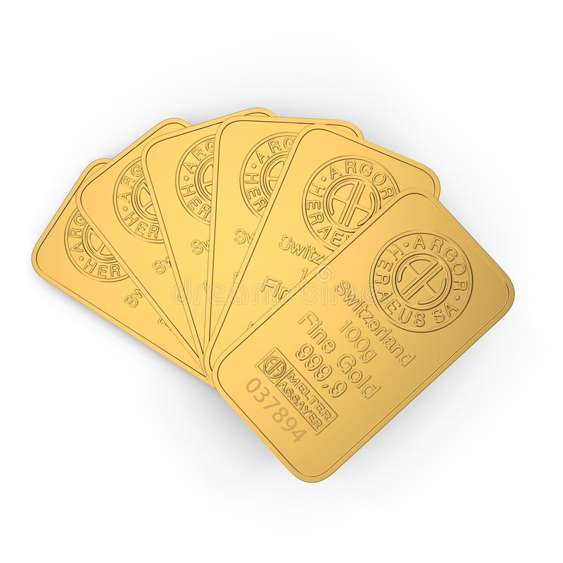 Gold bar 100g isolated on white. 3D illustration stock illustration