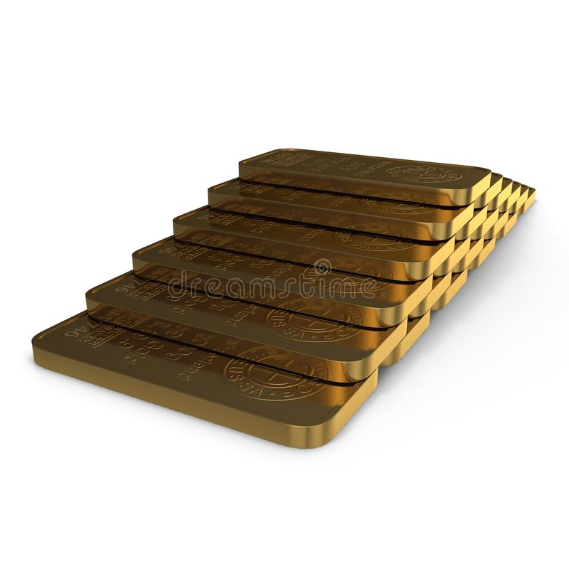 Gold bar 500g isolated on white. 3D illustration royalty free illustration