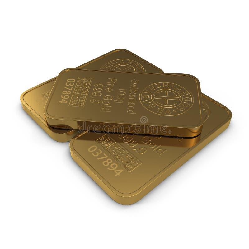 Gold bar 100g isolated on white. 3D illustration stock illustration