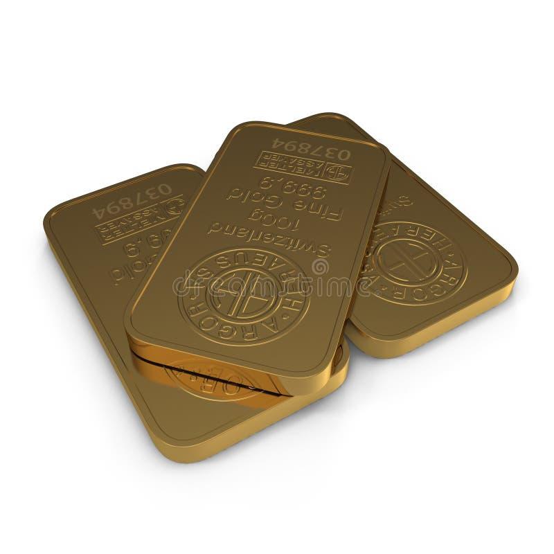 Gold bar 100g isolated on white. 3D illustration royalty free illustration