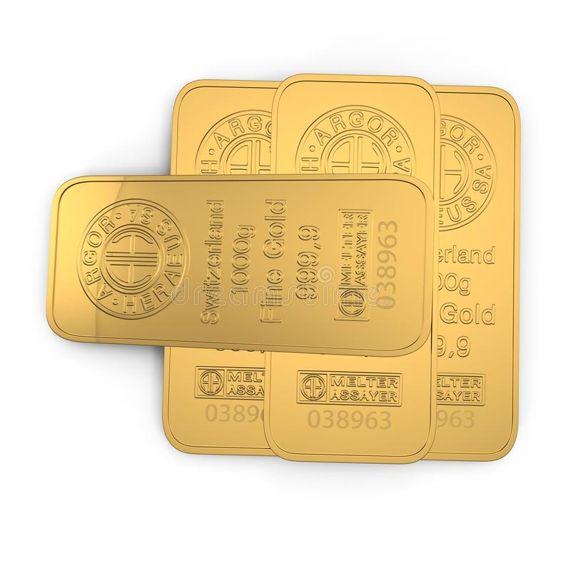 Gold bar 1000g isolated on white. Top view. 3D illustration stock illustration