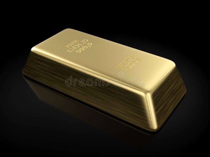 Gold bar. On a black background. 3D illustration vector illustration