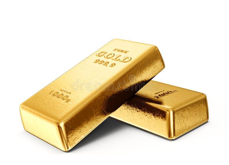 Gold bar. Isolated on a white background. 3d illustration stock illustration
