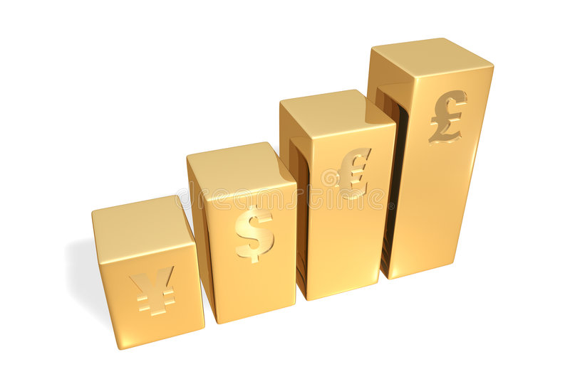 Gold bar graph. With currency signs stock illustration