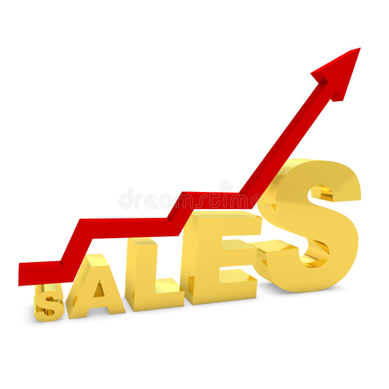 Gold bar graph showing the growth of sales vector illustration