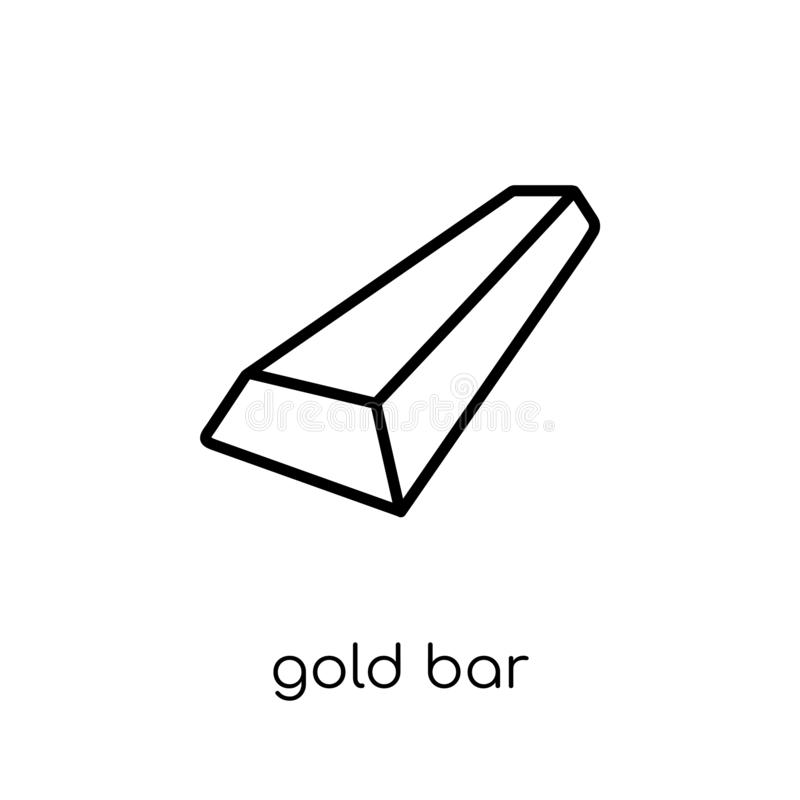 Gold bar icon. Trendy modern flat linear vector Gold bar icon on. White background from thin line Luxury collection, editable outline stroke vector illustration royalty free illustration