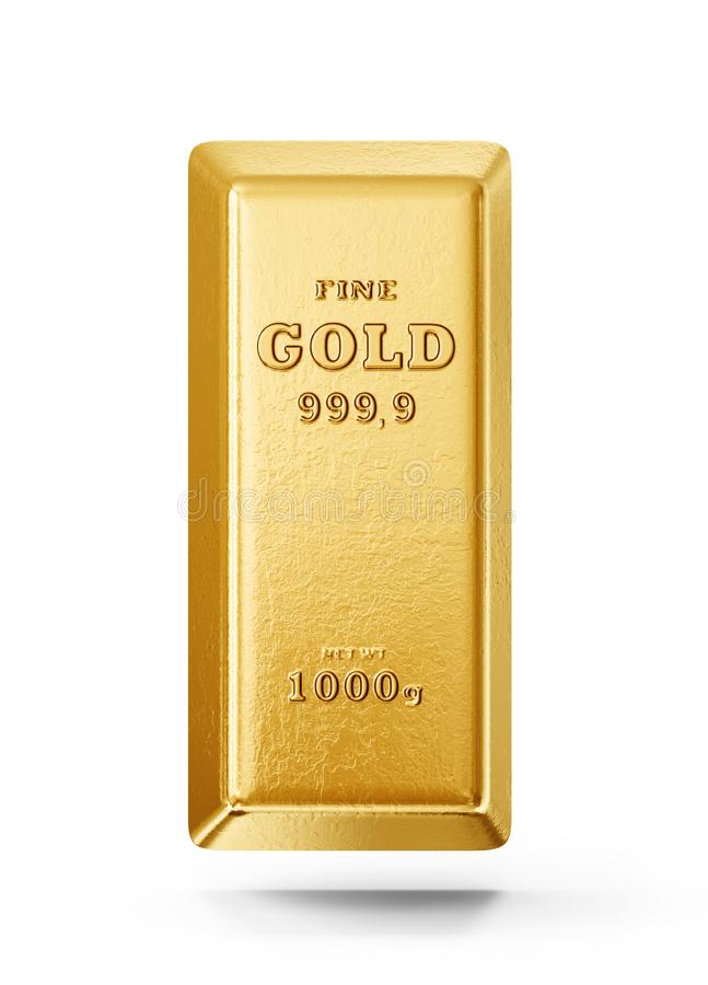 Gold bar. Isolated on a white background. 3d illustration royalty free illustration