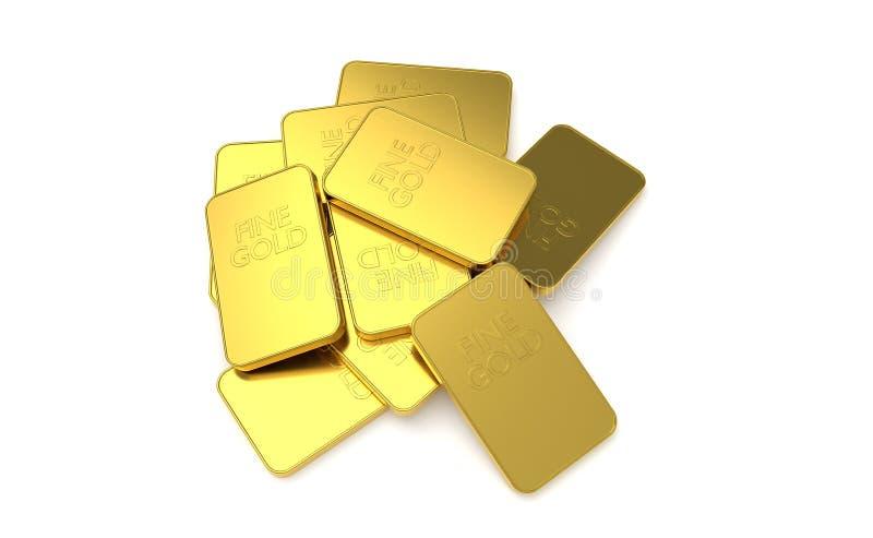 Gold bar isolated on white background. 3D render of gold bar isolated on white background royalty free illustration