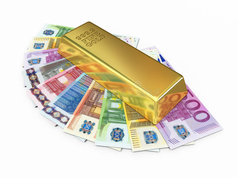 Gold bar and paper euro money royalty free stock photography