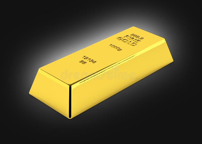Gold bar perspective view on black gradient background 3d stock illustration
