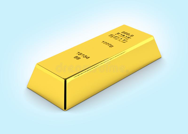 Gold bar perspective view on blue gradient background 3d royalty free illustration