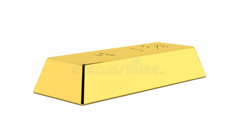 Gold bar without shadow on white background 3d vector illustration