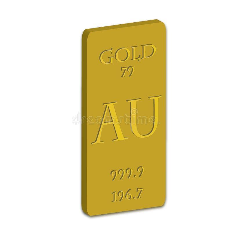 Gold Bar. A solid gold bar AU 999.9 / 196.7 royalty free illustration