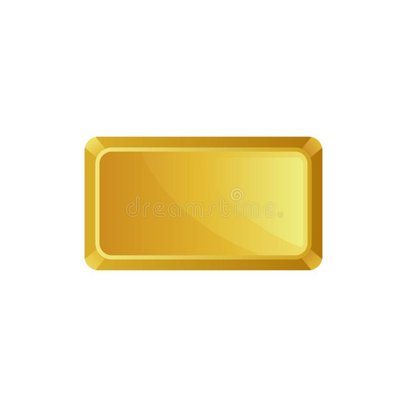 Gold bar, top view, banking business, prosperity, treasure siymbol vector Illustration on a white background. Gold bar, top view, banking business, prosperity stock illustration