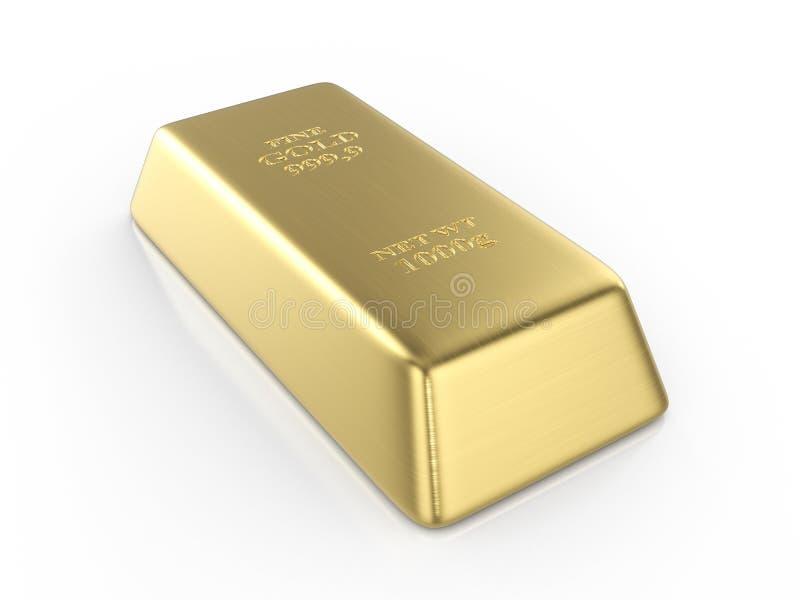 Gold bar. On a white background. 3D illustration stock illustration