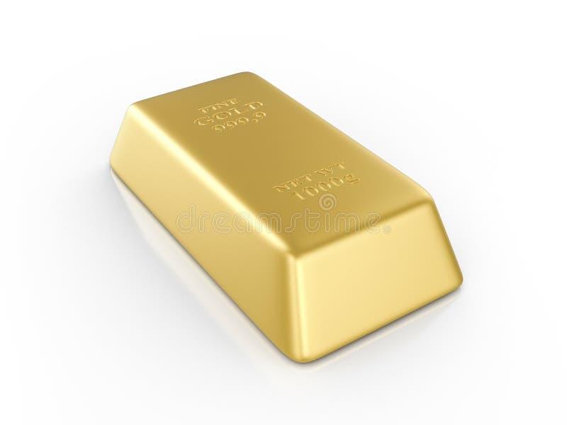 Gold bar. On a white background. 3D illustration royalty free illustration