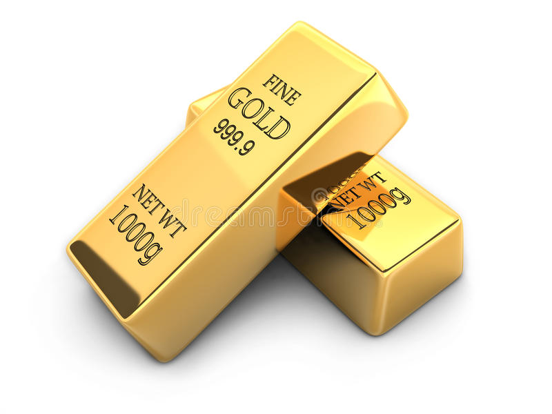 Gold bar. In white background (done in 3d vector illustration