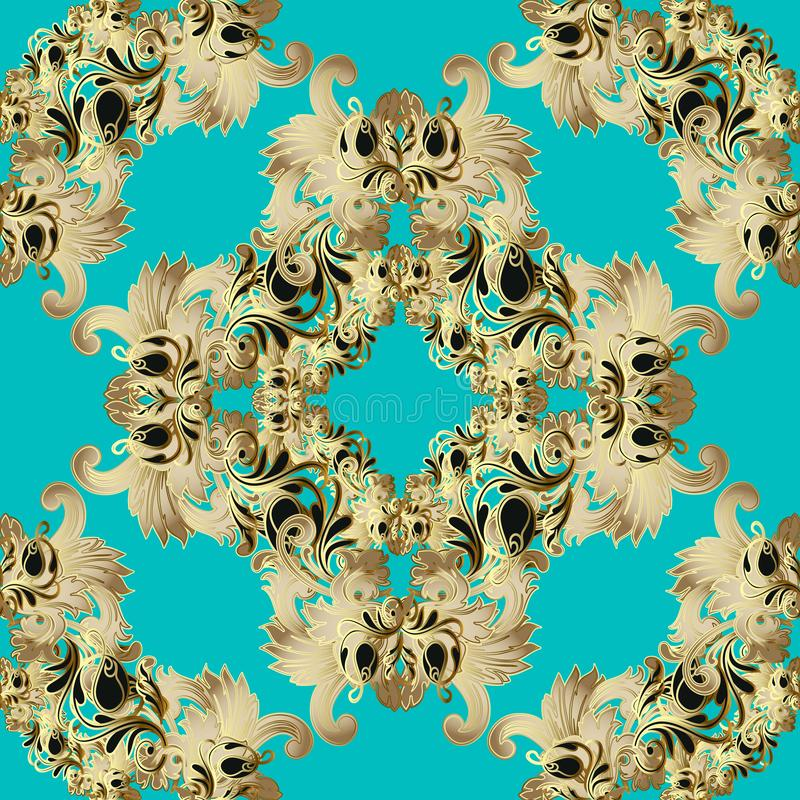 Gold Baroque vector seamless pattern. Light blue ornamental background. Repeat floral backdrop. Luxury golden flowers, scroll stock illustration