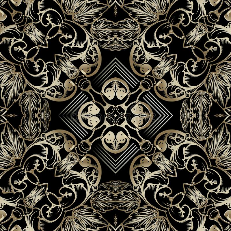 Gold Baroque vector seamless pattern. Ornamental luxury floral ornament. Geometric shapes, lines, stripes, rhombus. Frames. Repeat ornate backdrop. Vintage stock illustration