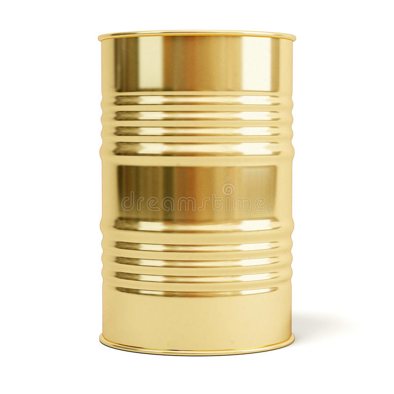 Gold barrel. Oil drum isolated on white stock photos