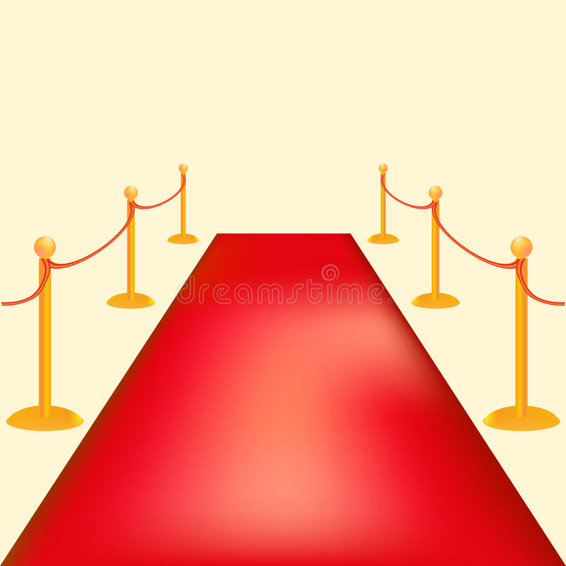 Gold barriers vector illustration . Red carpet ceremonial vip event or head of state visit . royalty free stock photo