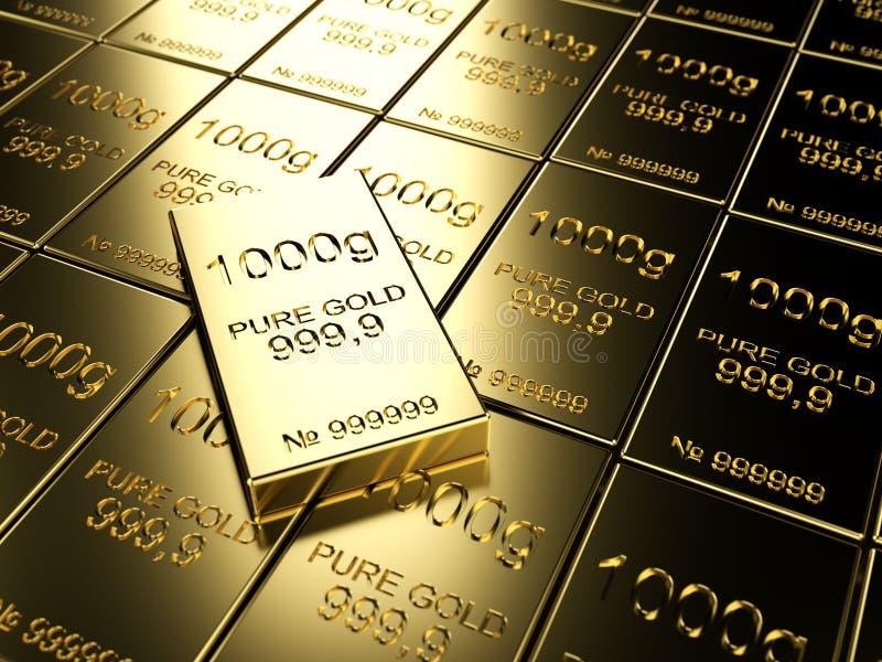 Gold bars. Big number of gold bars