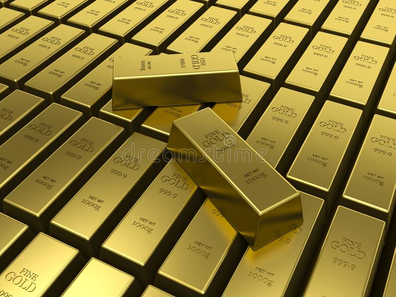 Gold bars. American Gold reserves concept. stock illustration