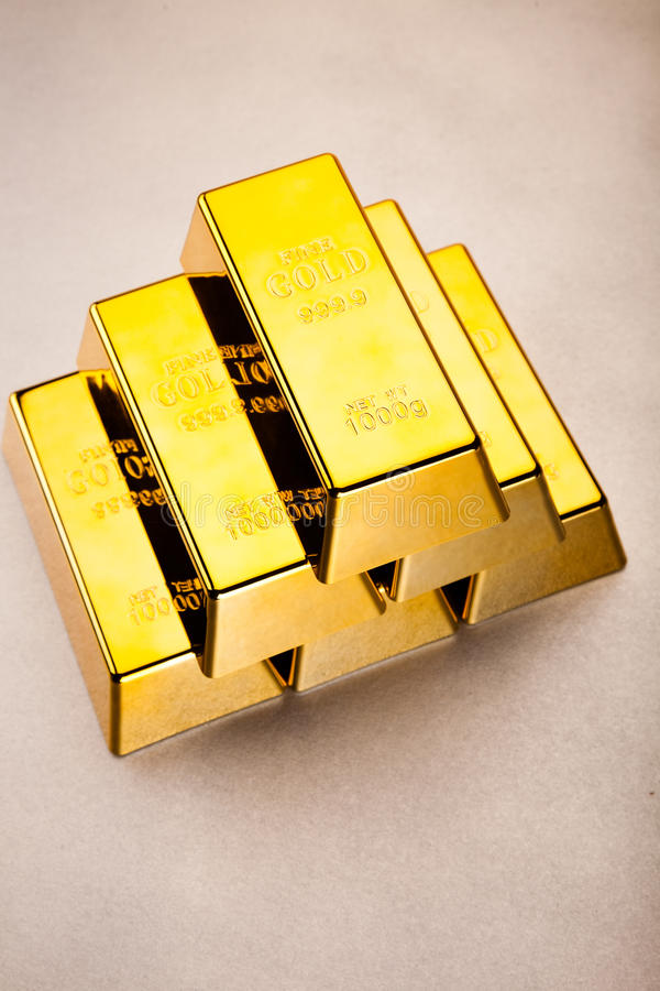 Gold bars background, ambient financial concept.  royalty free stock photography