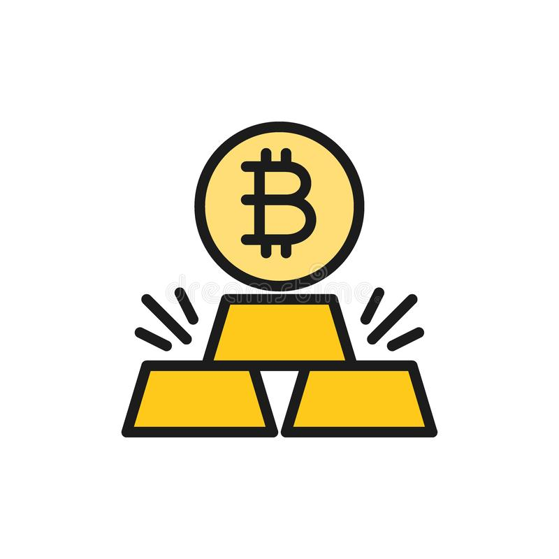 Gold bars with bitcoin, cryptocurrency flat color icon. royalty free illustration