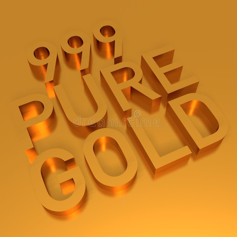 Gold bars - bullion. Gold logo of 999 pure gold bullion royalty free illustration