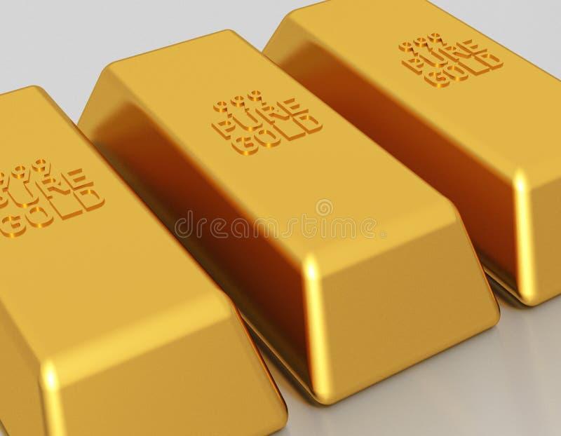 Gold bars - bullion. Gold bars of 999 pure gold bullion vector illustration