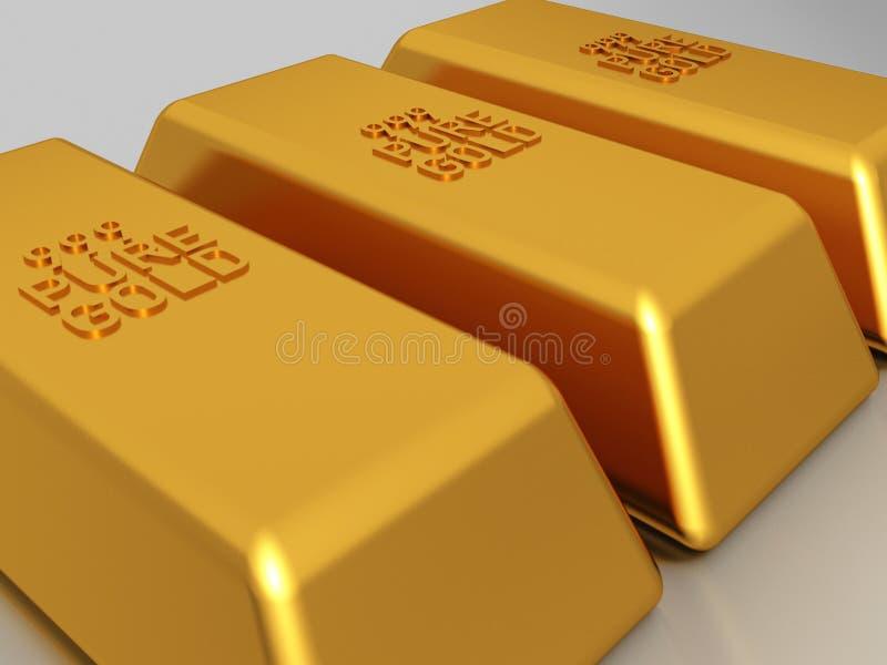 Gold bars - bullion. Gold bars of 999 pure gold bullion stock illustration