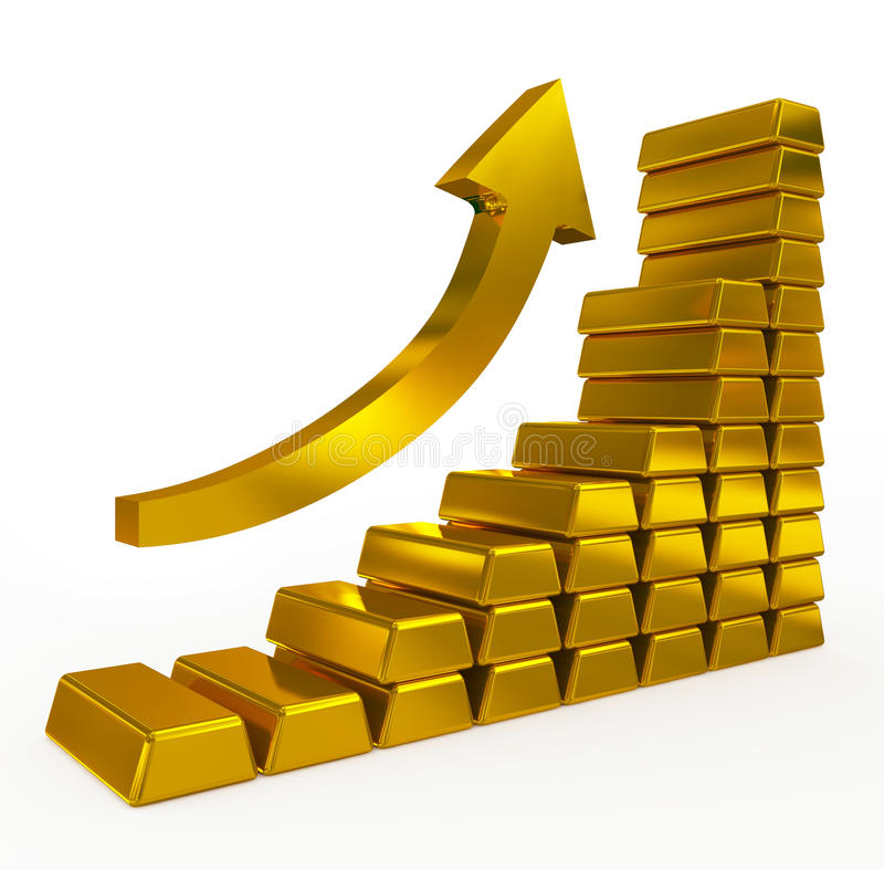 Gold bars chart. Isolated on white royalty free illustration