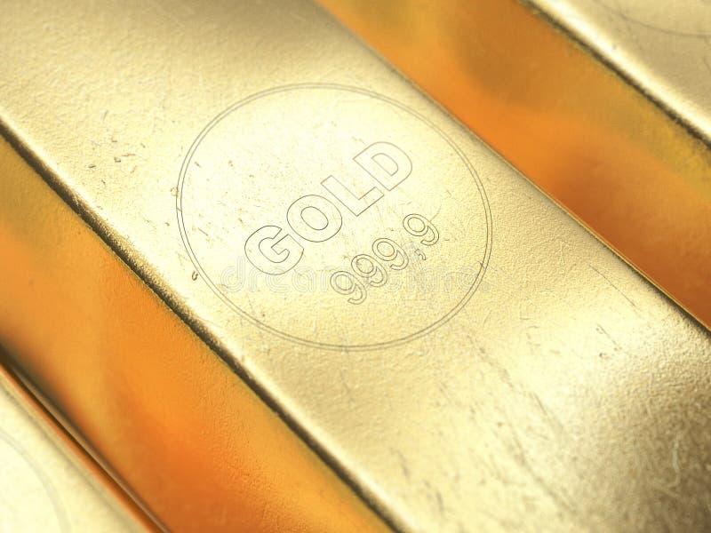 Gold bars close-up. 3d illustration. royalty free illustration