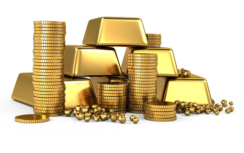 Gold bars and coins royalty free illustration