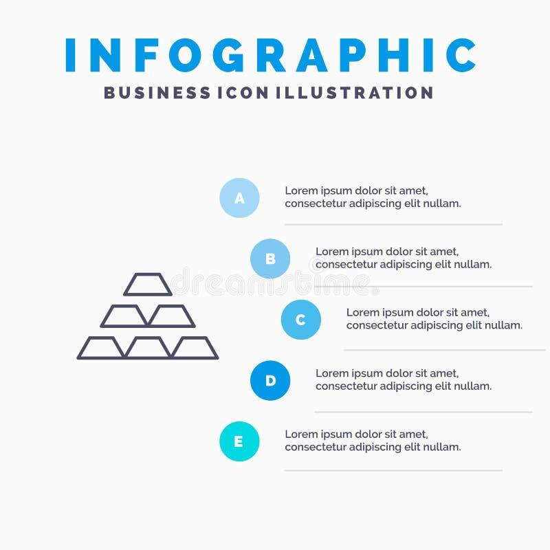 Gold, Bars, Deposit, Golden, Money, Reserve, Wealth Line icon with 5 steps presentation infographics Background stock illustration