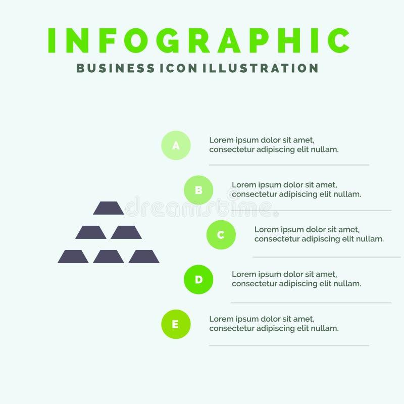 Gold, Bars, Deposit, Golden, Money, Reserve, Wealth Solid Icon Infographics 5 Steps Presentation Background stock illustration