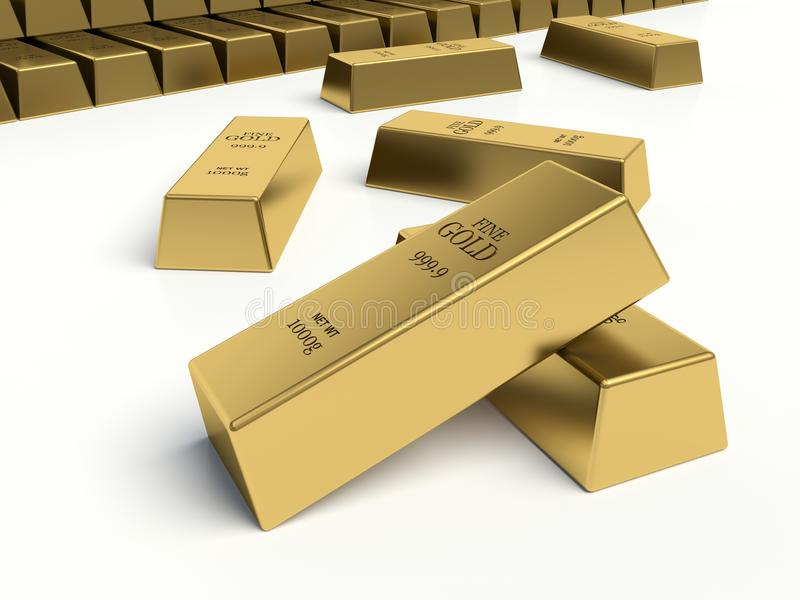 Gold bars. Gold reserves concept. stock illustration